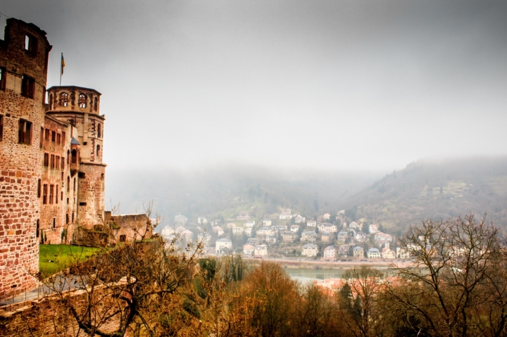 View of Rhine River from the Heidelberg Schloss. It was very foggy when we visited the Schloss, but it added more to the medieval charm of the castle.