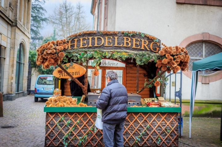 A kastanie (Chestnut) shop along the Heidelberg's old town Christmas Market