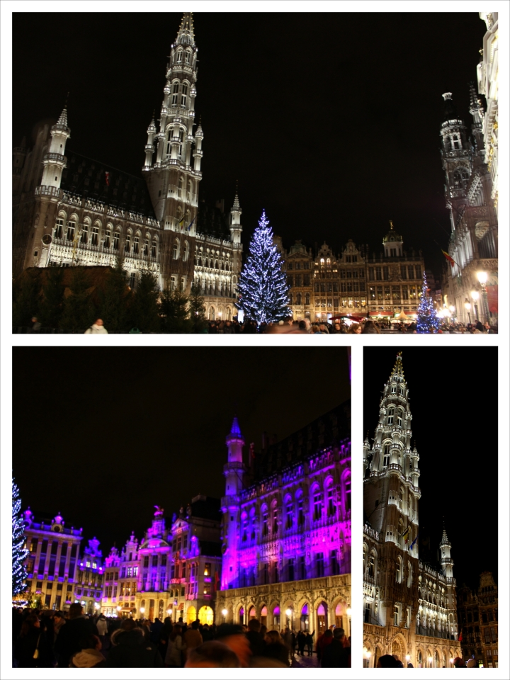 The Grand Place was well illuminated as always, but decorated with a Christmas tree and nativity scene center piece.