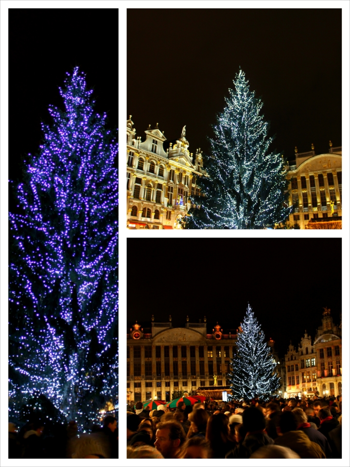The Christmas tree in the middle of the Grand Place.