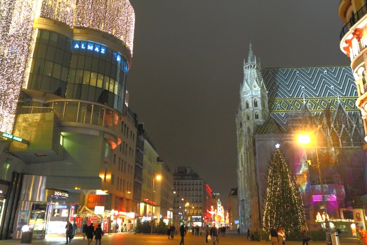 Strolling around Stephansplatz at 11pm after watching a Christmas story opera inside the St. Stephen's cathedral.