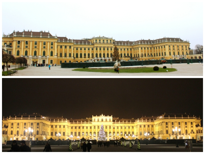 The facade of the Schönbrunn Palace on a cloudy afternoon (Above) and early evening (below) with a small Christmas market in front of the Palace grounds.