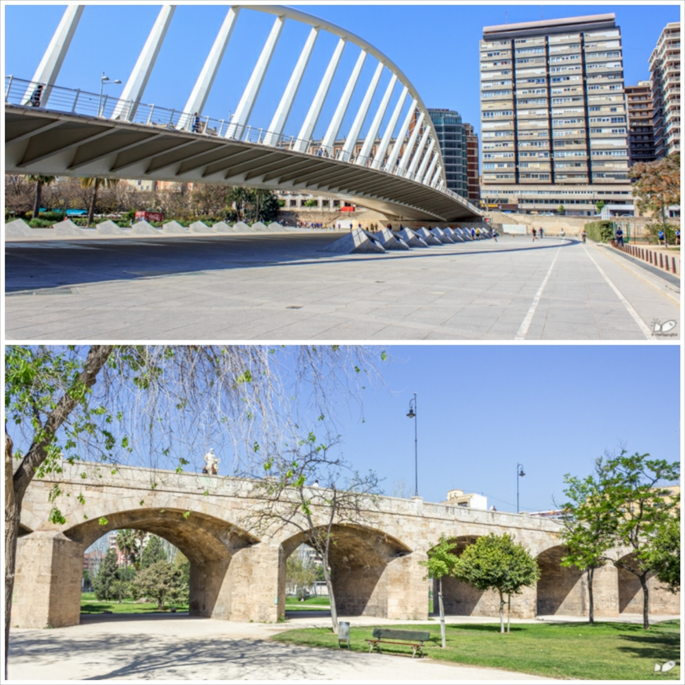 The base of the riverbed is converted into a park and you can still see the bridges (both medieval and contemporary) that crosses between the river banks. All of them are still being used.